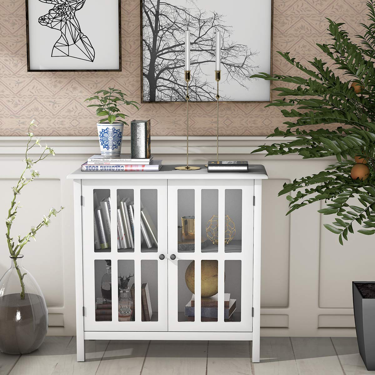 Tangkula Console Cabinet Storage White Glass Door Sideboard Console Table Server Display Buffet Cabinet White
