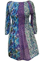 100% Cotton Long Floaty Longsleeve Olivia Blue & White Flower Print Top - Fairtrade
