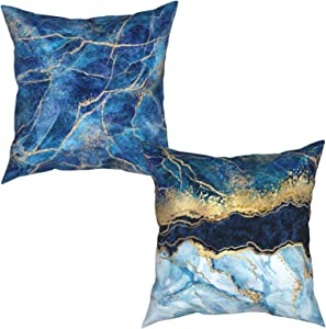 Marble Throw Pillow Covers 18x18 Set of 2 Gold Glitter Veins Pillowcases Blue Pillow Covers Home Decoration Square Sofa Cushion Covers for Living Room Bedroom Garden