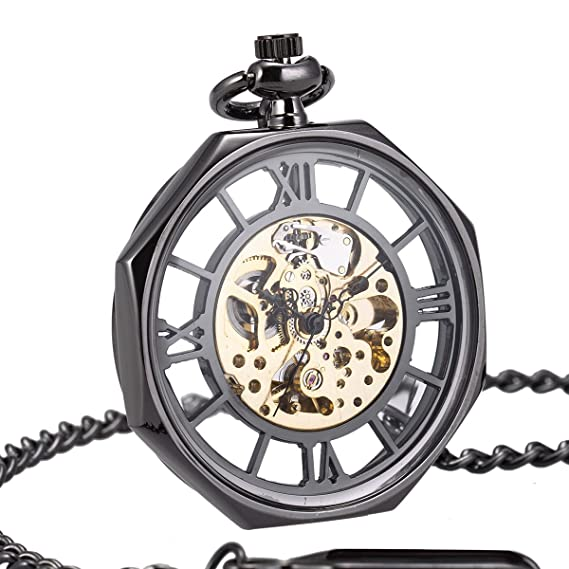 Reloj de Bolsillo Mecánico Automático Cara Abierta SIBOSUN Retro Antiguo Ferrocarril Estilo Octágono Esqueleto Negro Hombres: Amazon.es: Relojes