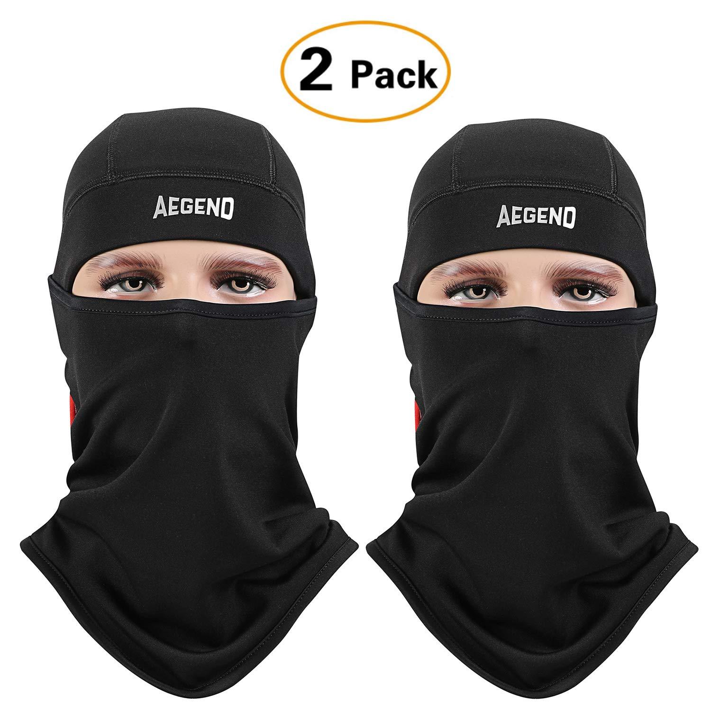 Windproof Ski Face Mask Winter Balaclava Motorcycle Neck Black, AXBXCX 2 Pack