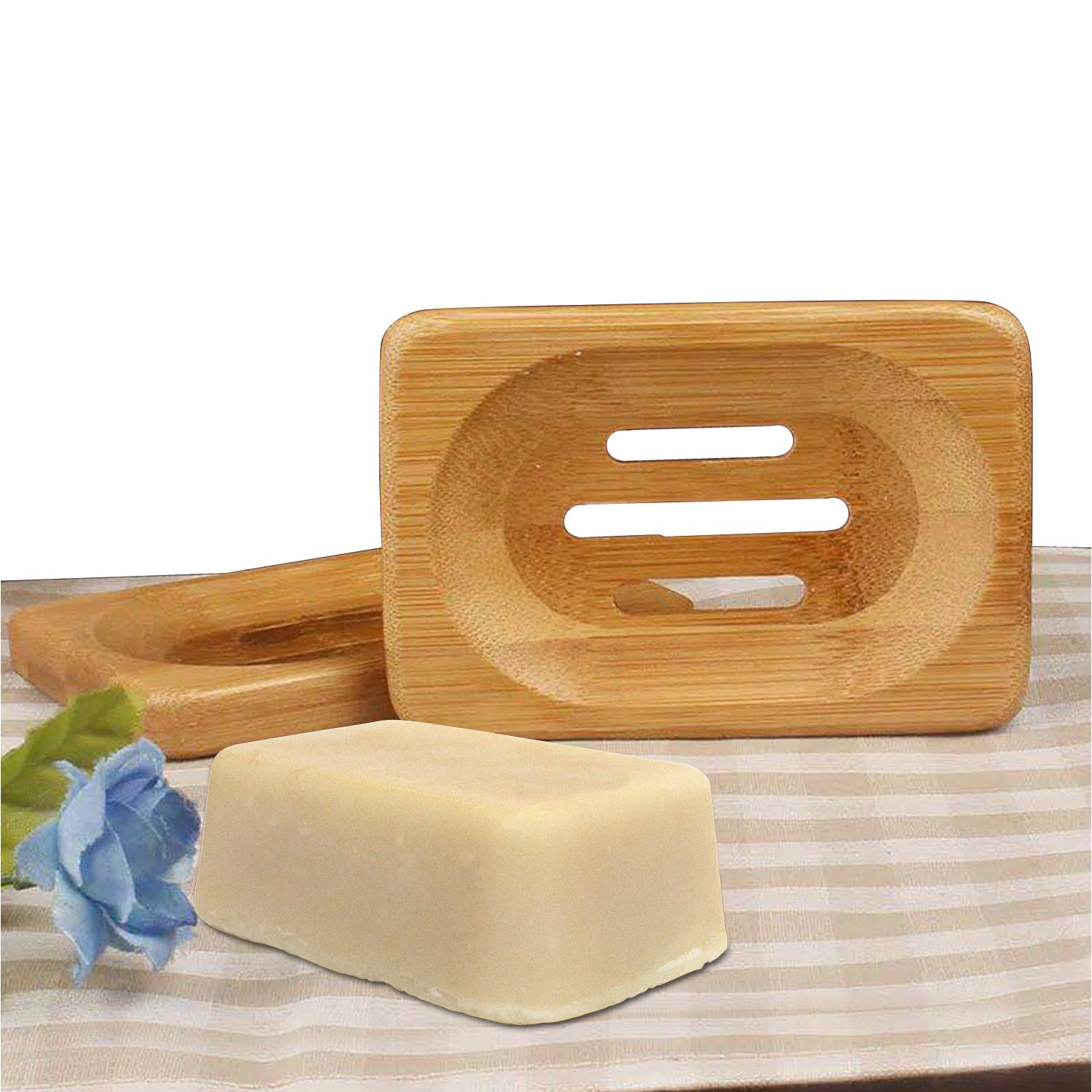 Brand New 2Pcs Natural Wooden Bamboo Bathroom Shower Soap Dish Storage Holder Plate Tray New The Best Kingdom