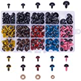 PandaHall Elite 214 Pieces 8~16mm Colorful Safety Eyes Plastic Safety Eyes Plastic Eyes with Washers for Doll, Puppet, Plush Animal
