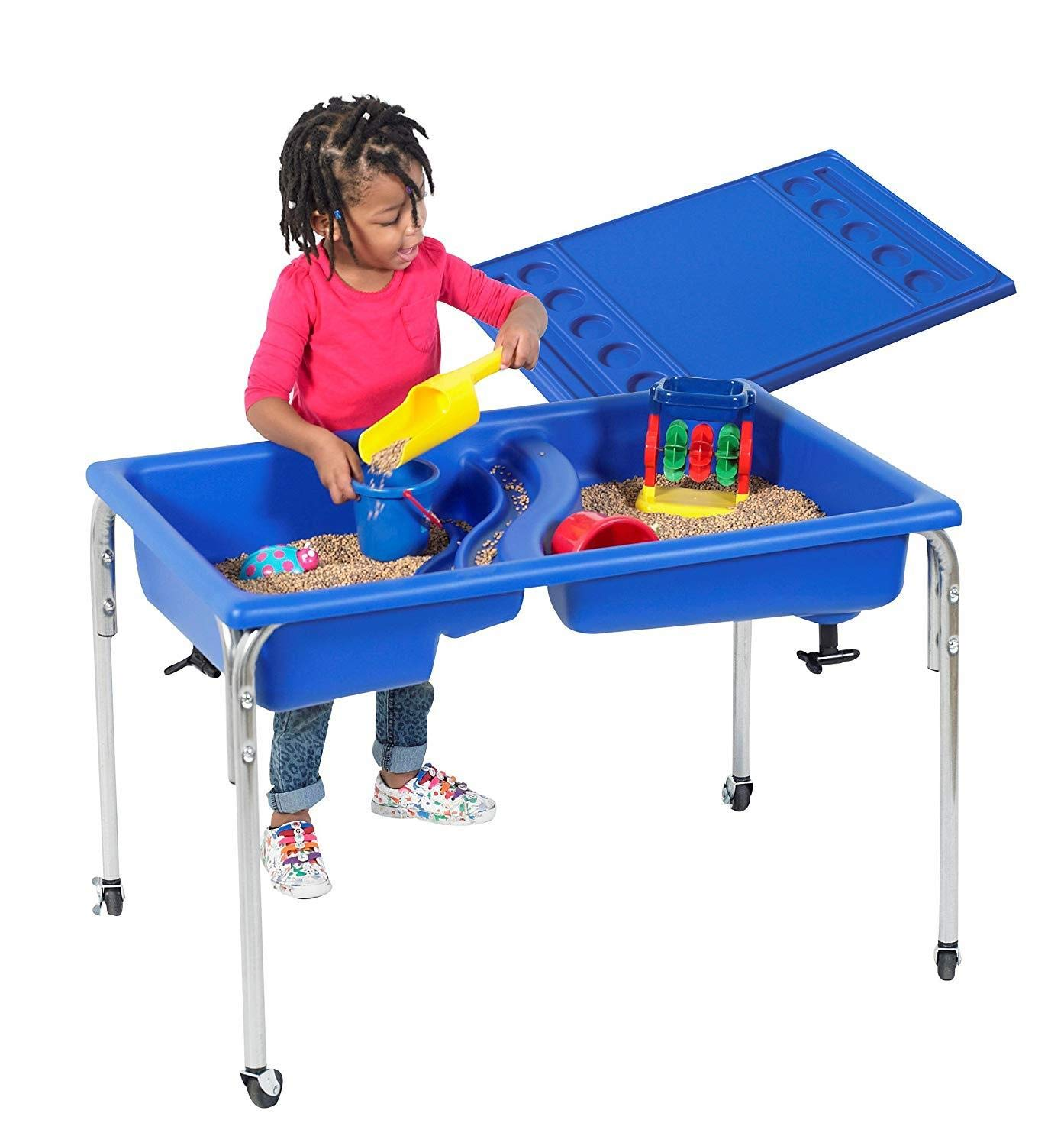 Children's Factory Neptune Table and Lid Set Sensory Table for Kids in Blue (36 x 24 x 24 in) by Children's Factory