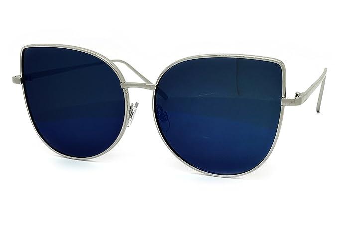 d4fa214ae Amazon.com: O2 Eyewear 7040 Premium Oversized XL Retro Cats eye Mirror Funky  Fashion Revo Candy Flat Metal Aviator Sunglasses (Light, SLIVER/BLUE):  Clothing