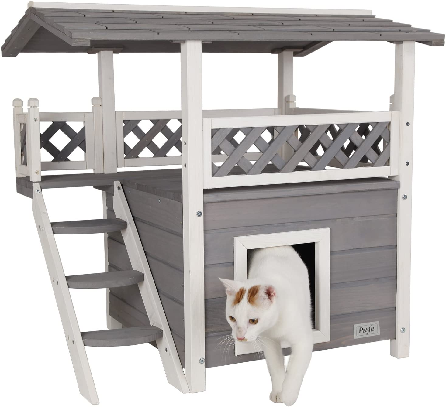 Petsfit Indoor Cat House Cat House With Stairs And Balcony Small Animal Amazon Co Uk Pet Supplies
