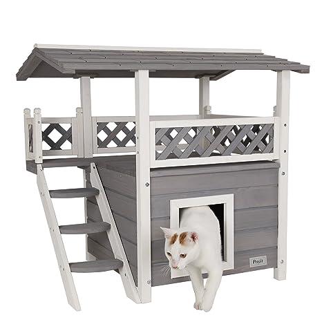 Petsfit Cat House Lodge, Casa de madera de madera para interiores con lugar de descanso