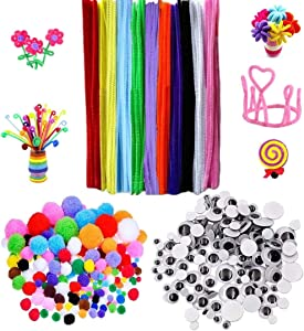 Laviesto 400 Pcs Pipe Cleaners Craft Supply Set,Including 200 Pcs Chenille Stems,100 Pcs Pompoms and 100 Pcs Wiggle Googly Eyes for Home and School DIY Art Craft Projects and Decorations