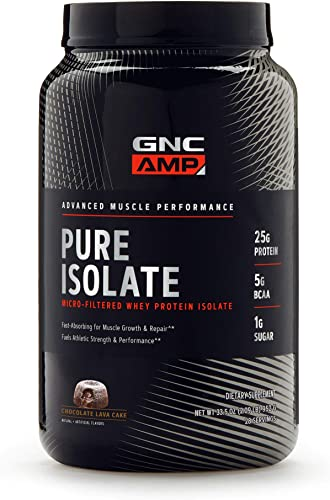 GNC AMP Pure Isolate – Chocolate Lava Cake, 28 Servings, 25 Grams of Whey Protein Isolate