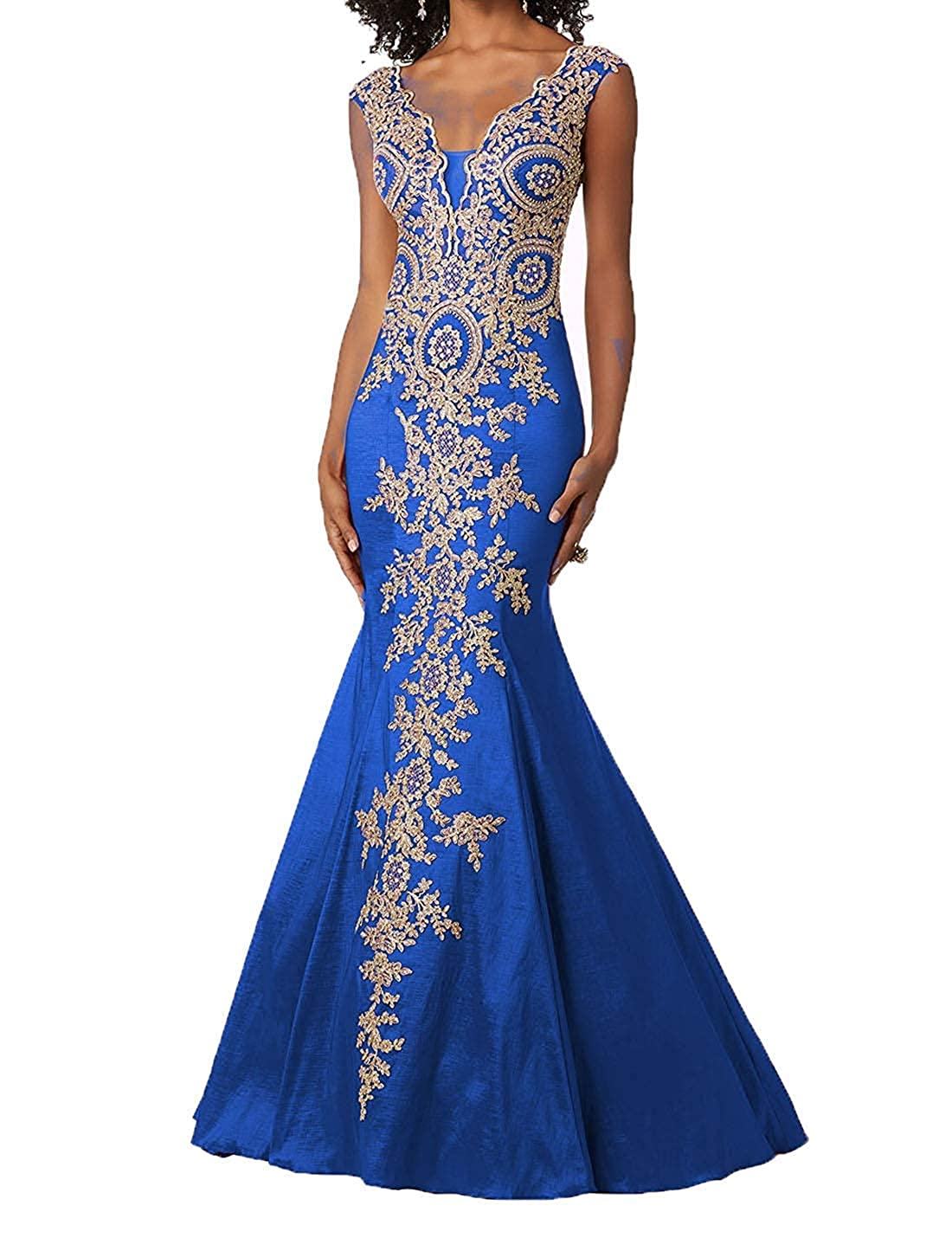 bluee Ruisha Women gold Lace Appliques Mermaid Evening Dresses Sexy V Neck Long Prom Dresses Formal Gown RS0306