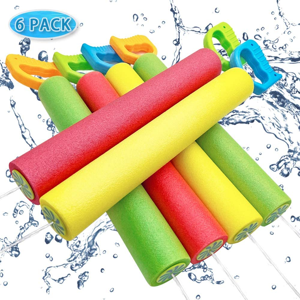 ToyerBee Water Gun for Kids, 6 Pack Water Guns, 16''-25.5'' Water Gun Shoots up to 35ft, Squirt Guns for Kids&Toddlers&Adults, Best Summer Water Cannon in Swimming Pool, Beach: Toys & Games