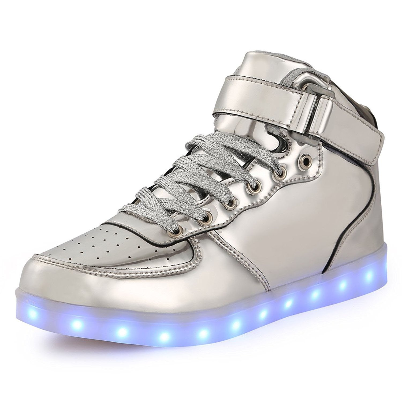 uruoi New Logo 11 Lighting Effects High-Top Light Up Shoes LED Sneakers For Women Men Girls Boys Christmas Halloween Birthday Part B06Y22VQNS 36 M EU|Silver