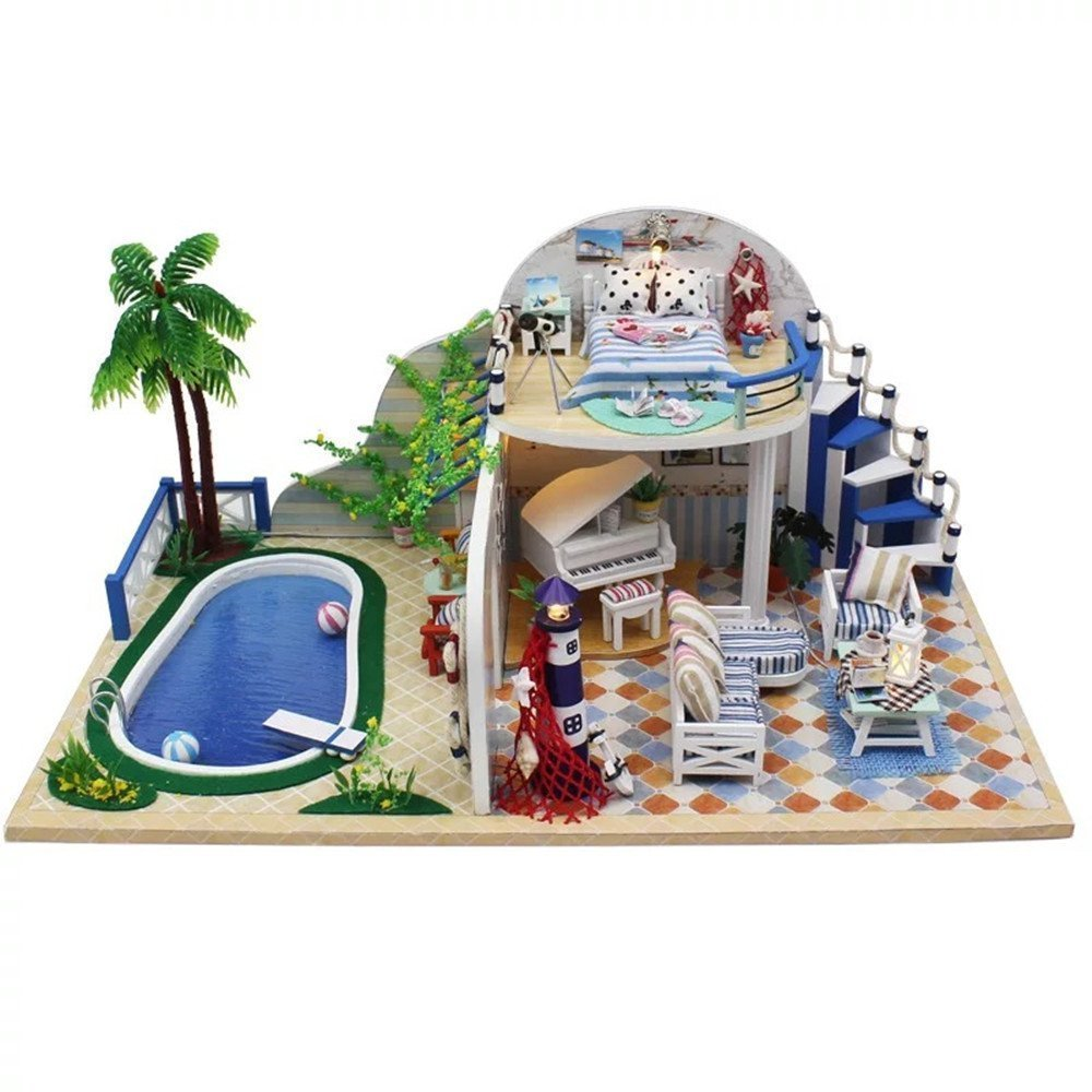 Flever Dollhouse Miniature DIY Musical House Kit Creative Room With Furniture for Romantic Valentines Gift Fresh Summer Villa Plus Dust Proof Cover