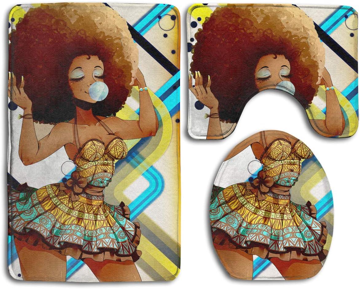 Jianyue Sexy Black Girl Blowing Bubbles 3Pcs Bathroom Mats Set,Bath Mat,Bathroom Carpet Rugs,Toilet Floor Contour MatPedestal Rug Lid Toilet Cover Bath Mat,Carpet for Washroom Non-Slip