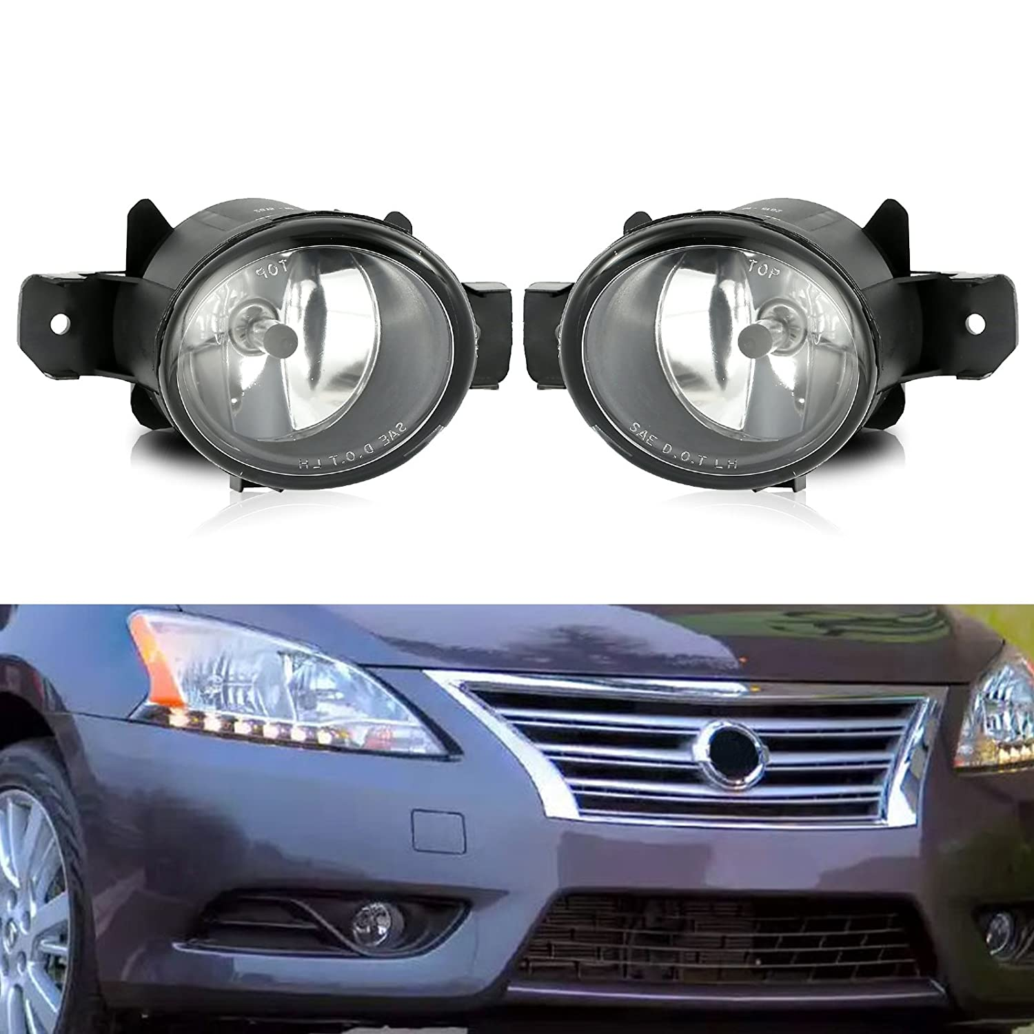cciyu Clear Lens Replacement Fog Lights Front Bumper Lamps Replacement fit for 2007-2008 Nissan Maxima 120131-5210-1647531