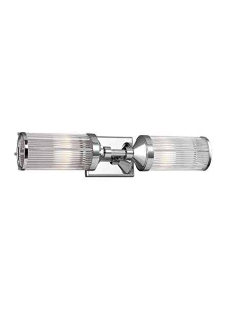 Feiss Wb1842ch Paulson Glass Wall Vanity Bath Lighting Chrome 2 Light 23 W X 5 H 120watts