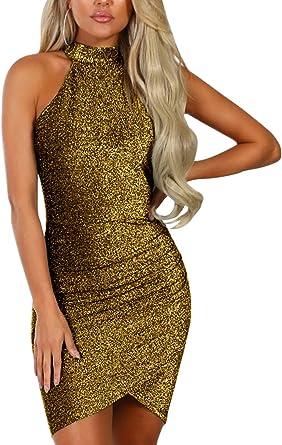 Ladies Sleeveless Silver Gold Round Sequin Plain Back Shiny Womens Bodycon Dress