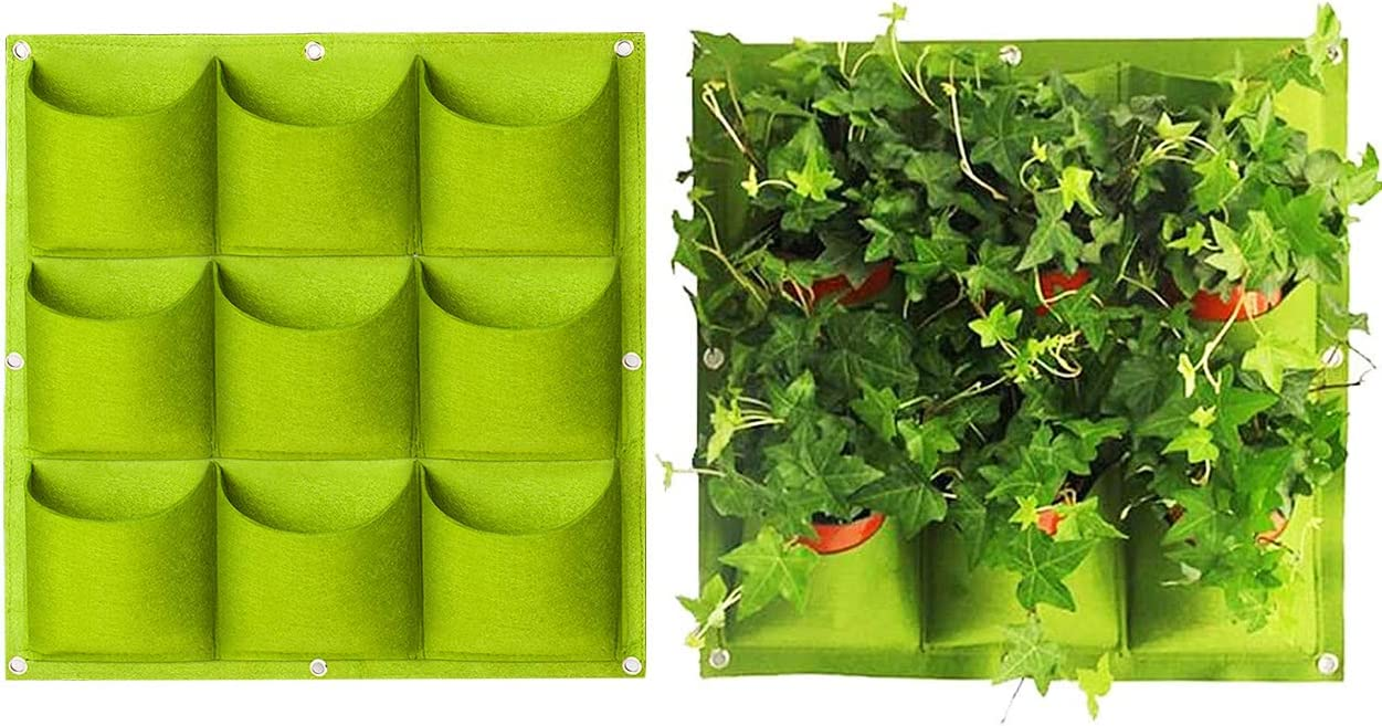 Yuccer Vertical Garden Planter Planting Bags Wall Hanging Grow Bags Plant Pouch Large For Yards Balconies Vegetables Flowers 9 Pockets Green Amazon Co Uk Garden Outdoors