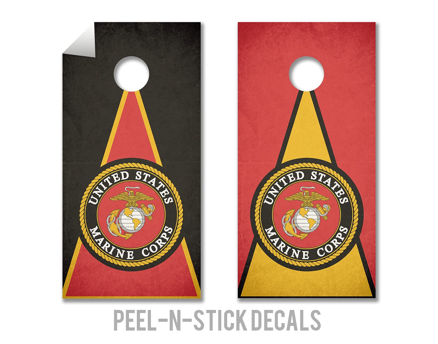 Marines - Military Service - Cornhole Crew - ACA Regulation Size Cornhole Board Decals