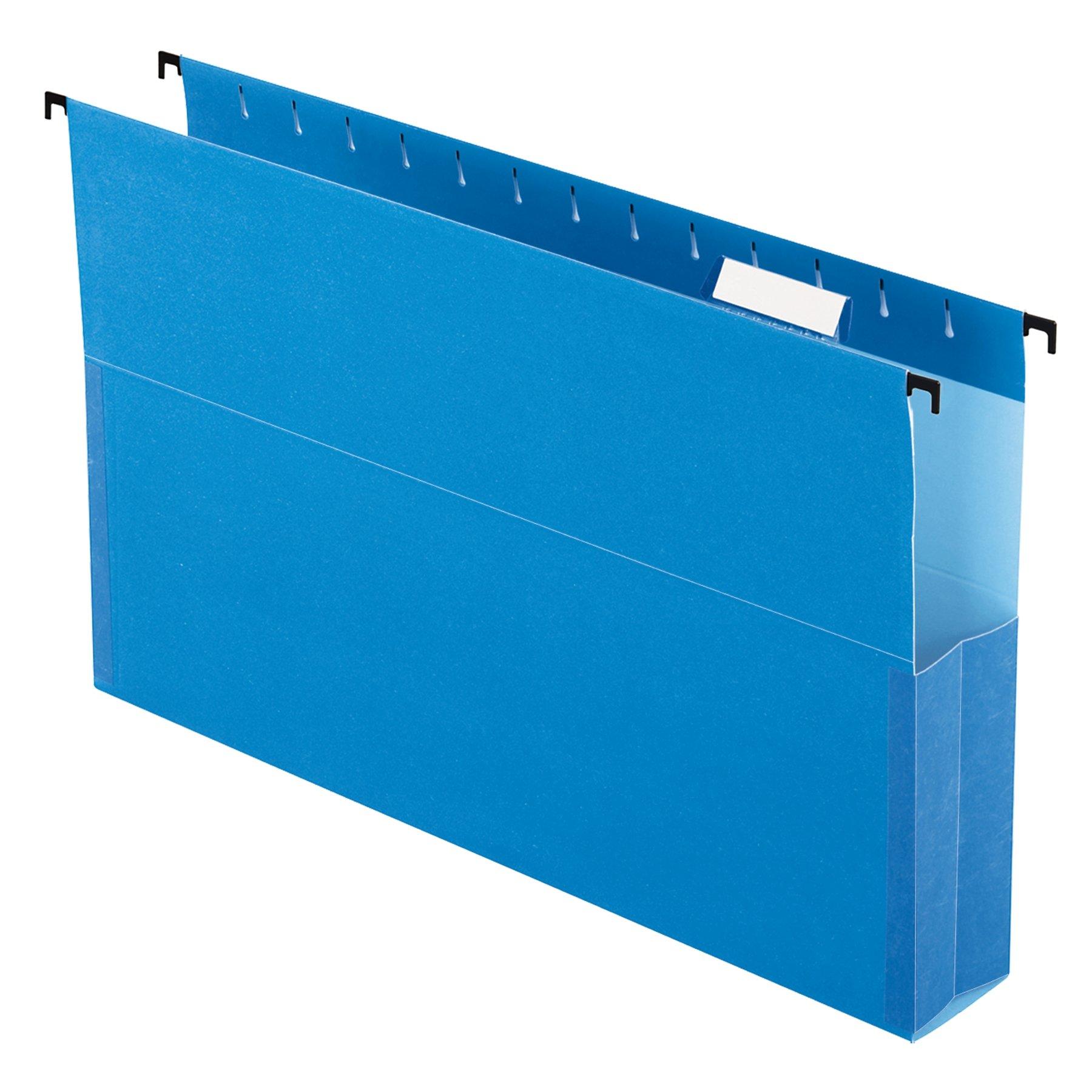 Pendaflex SureHook Reinforced Hanging Box File, 2'', Legal, Blue, 1/5 Cut, 25 per box (59302EE) by Pendaflex