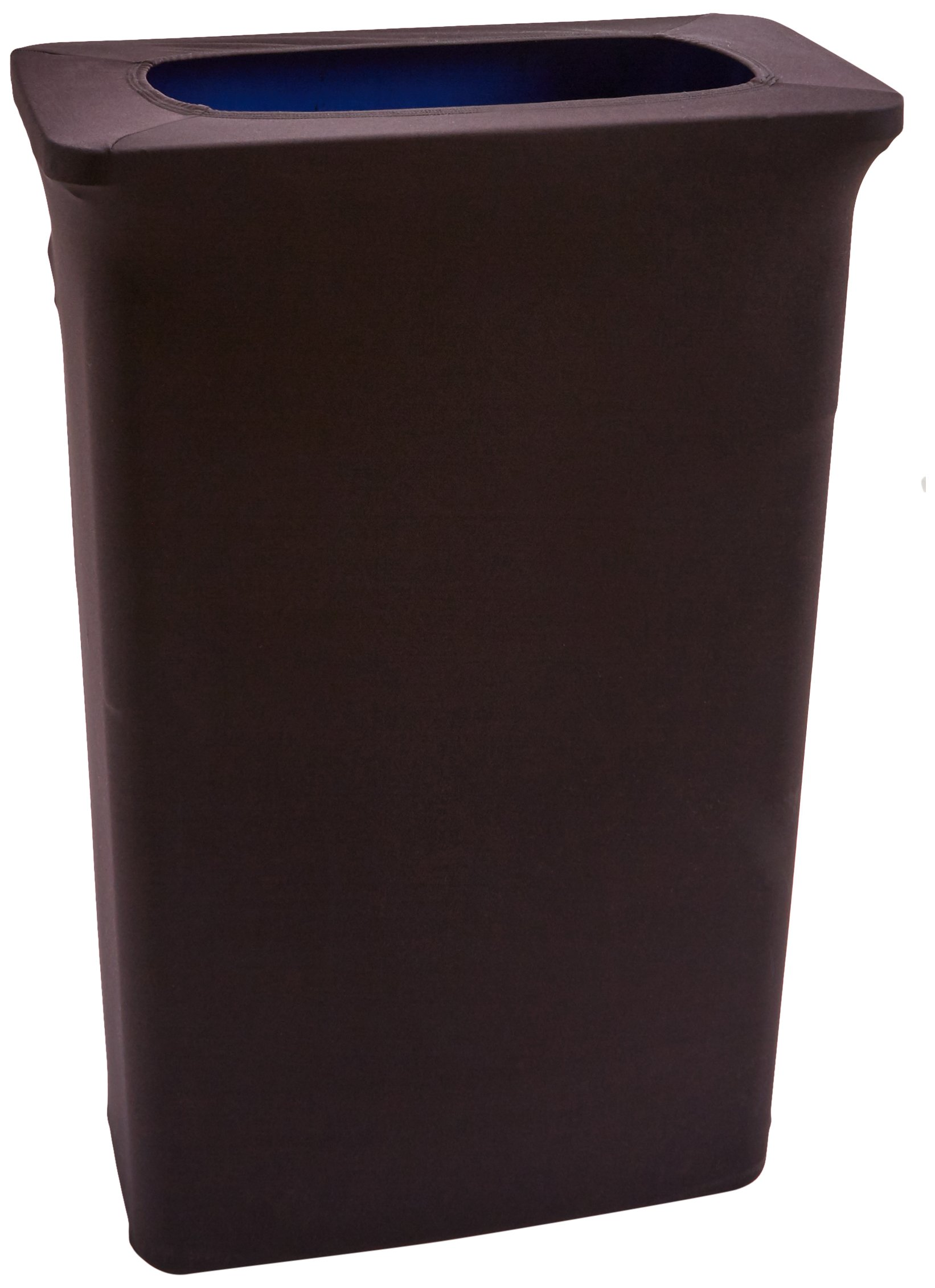 LA Linen Stretch Spandex Trash Can Cover for Slim Jim 23-Gallon,Black