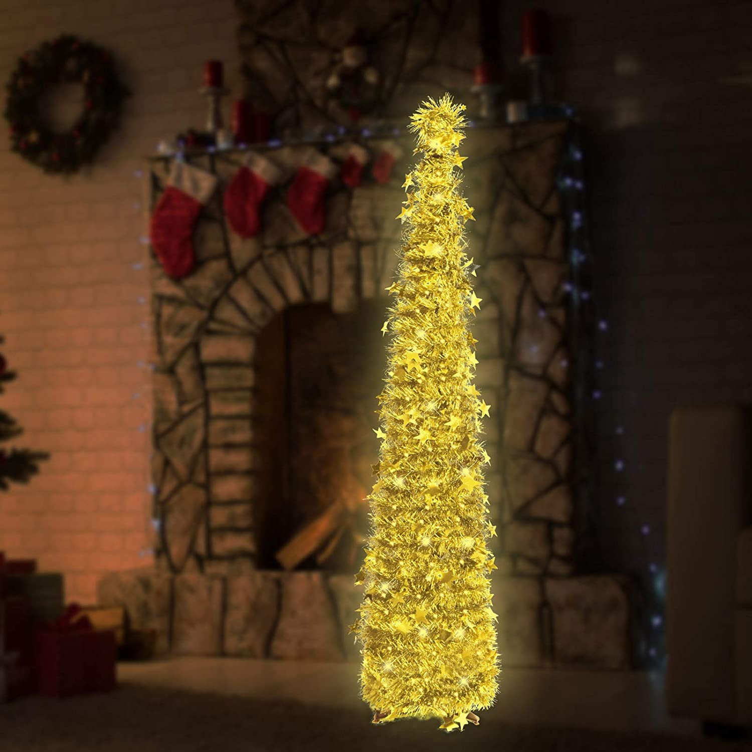 6ft Christmas Tinsel Tree with String Lights, Christmas Decorations Indoor, Pop up Christmas Tree with Stand Easy-Assembly, Big Xmas Decor for Bedrooms Office (Gold)