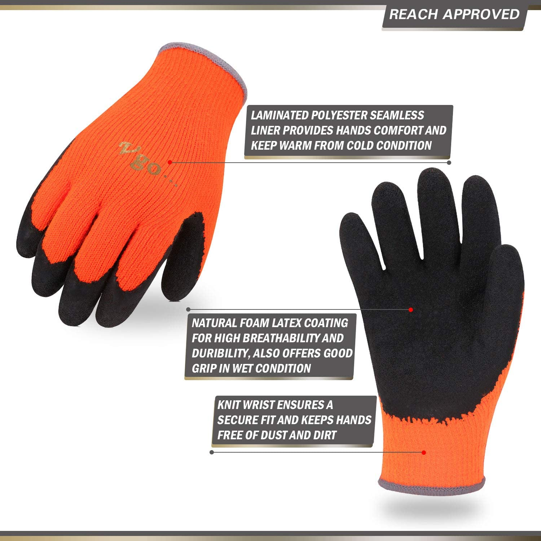 Nouveau large//xl hi viz thermique hiver builders latex caoutchouc gants de travail jardinage