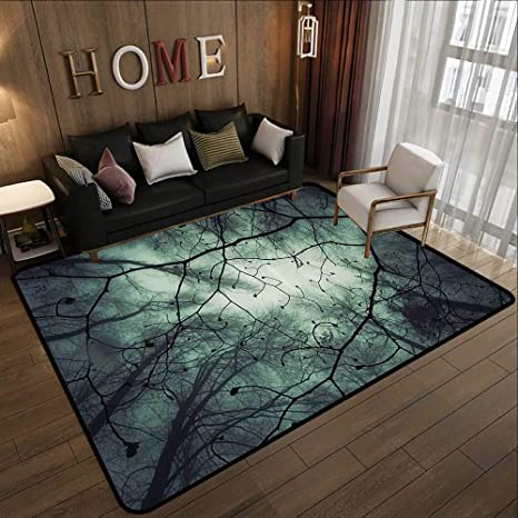Custom Floor Mats Horror House Decor Magical Fantasy Forest Bottom To Top Shadow Birch Trees Fairy Autumn Blue Black 47 X 59 Soft Area Rug For Children Baby Kitchen Dining