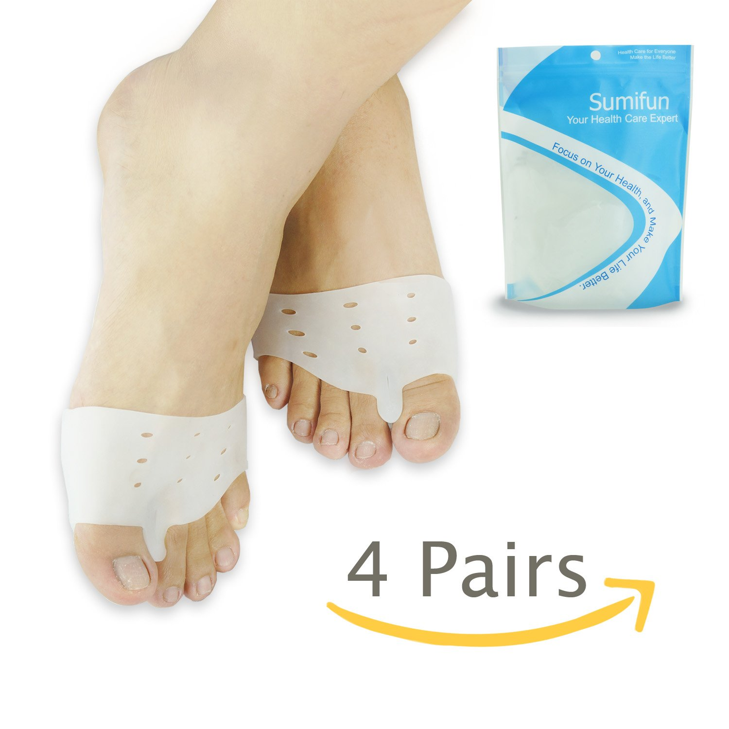 Bunion Corrector Gel Toe Separator for Hammer Toe with Forefoot Cushion Pad, Silicon Toe Straightener Spacer Hallux Valgus for Men and Women, Easy Wear in Shoes, Family Pack(4 Pairs)