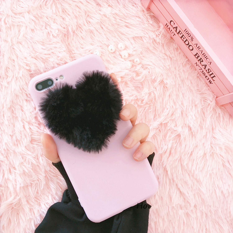 d3c9a2c9ae Amazon.com: 3D Love Heart case for iPhone 5 5s 6 6S 7 8 Plus X Rabbit Fur  Plush Super Cute Back Cover for iPhone 7 Plus,Type 2,for iPhone 7: Cell  Phones & ...