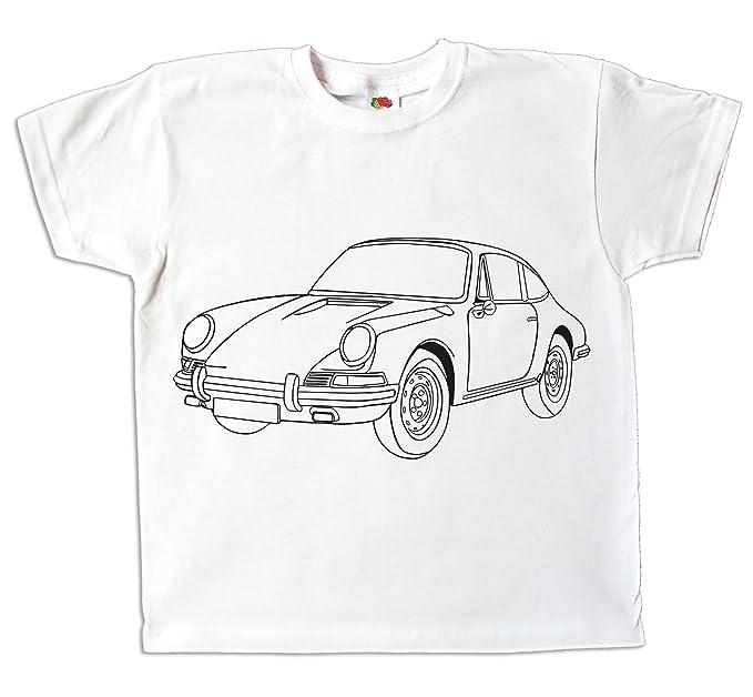 12989da7a979c Kinder T-Shirt Auto Sportwagen Jungen zum bemalen und ausmalen mit Vordruck  Spiel zum Kindergeburtstag