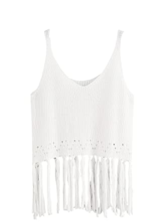 7f5677da9ce06 Romwe Women s Cami Fringe Trim Knit Tank Top White One-Size  Amazon ...