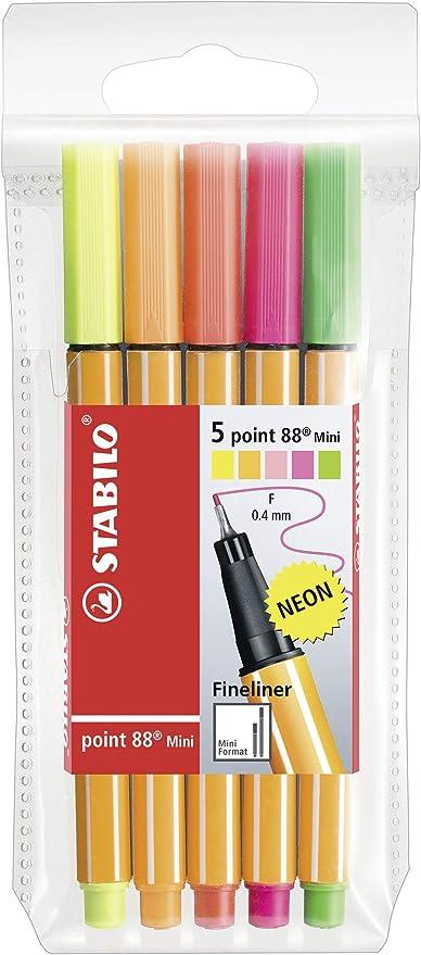 Rotulador punta fina STABILO point 88 mini - Estuche con 5 colores neón: Amazon.es: Oficina y papelería