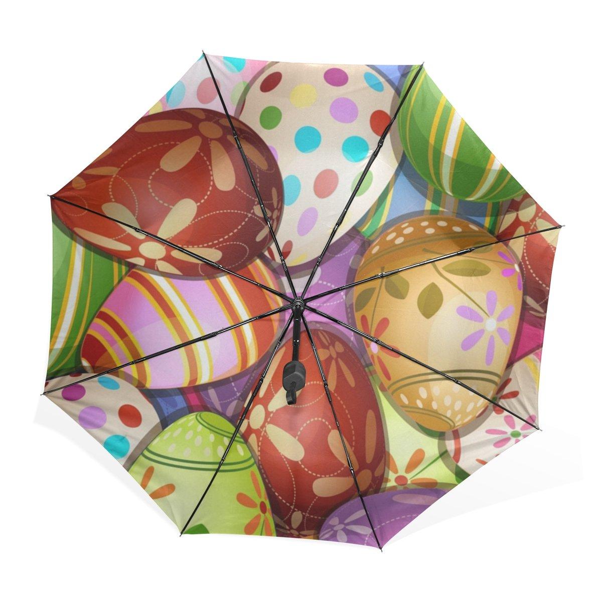 GUKENQ - Paraguas de Viaje, diseño de Huevos de Pascua, Ligero, antirayos UV, para Hombres, Mujeres y niños, Resistente al Viento, Plegable, Paraguas ...