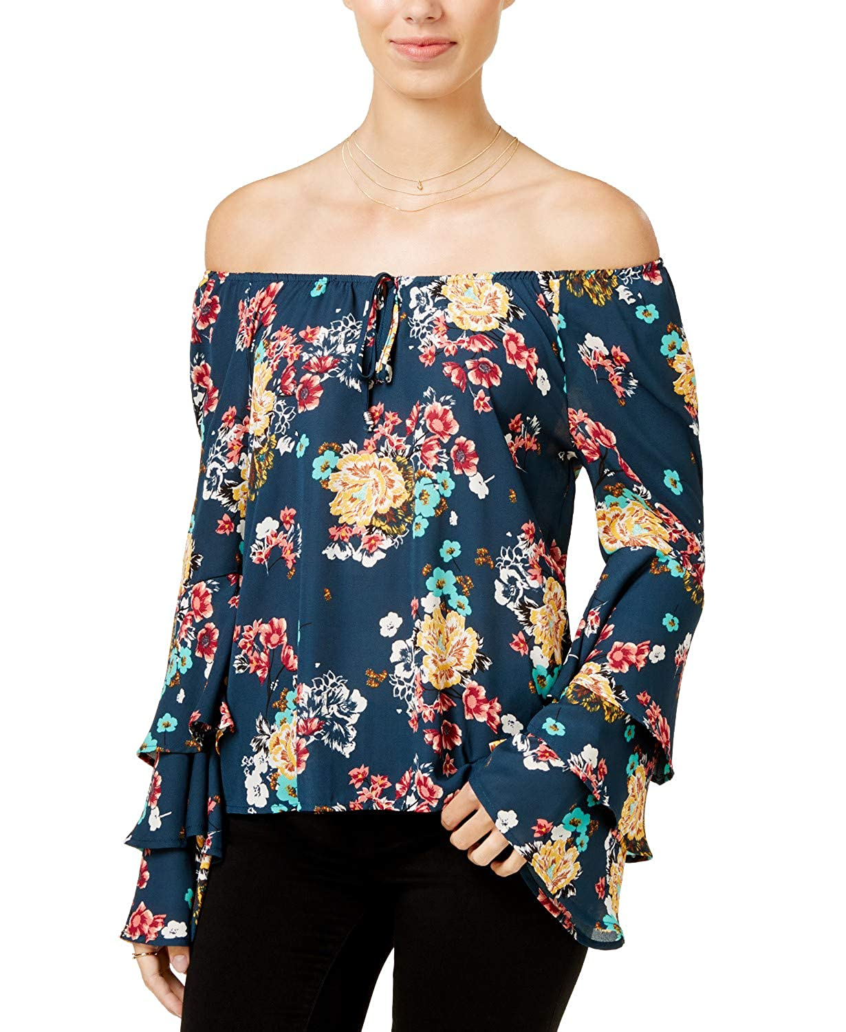 Lily Black Juniors Printed Off-The-Shoulder Ruffle-Sleeve Top