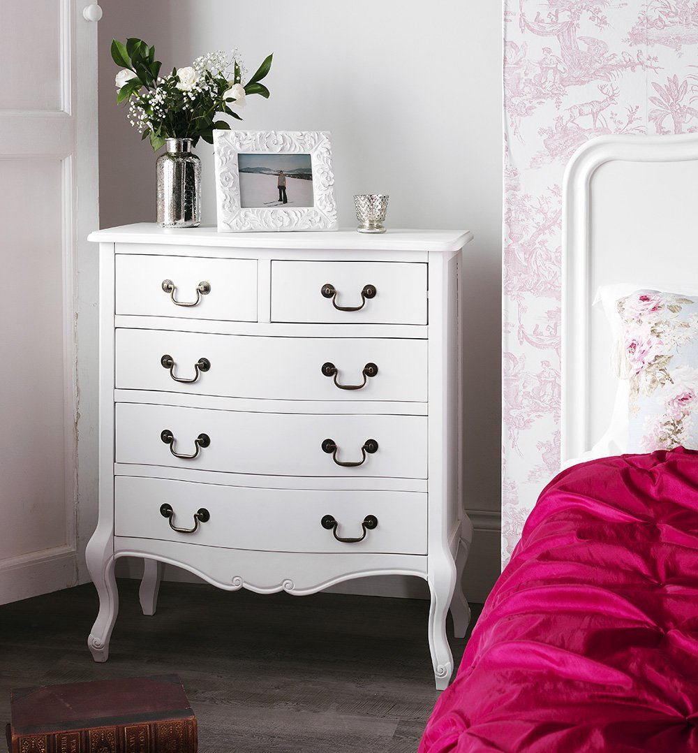 white furniture shabby chic. Juliette Shabby Chic White Double Bed 5pc Bedroom Suite, 4ft6 Bed, Chest Of Drawers, Wardrobe, Bedside Table, FULLY ASSEMBLED: Amazon.co.uk: Kitchen \u0026 Home Furniture