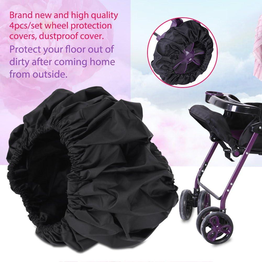 4pcs couverture de protection de roues de poussette de b/éb/é noir couvre pneu anti-poussi/ère enfant enfant classique couverture de roues de poussette accessoires s//l S