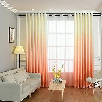 Hoomall Décoration de Fenêtres Rideau à Oeillets Occultant Rideau Chambre  Couleur Blanc Orange Dégradé Polyester 140x175cm 1 PC
