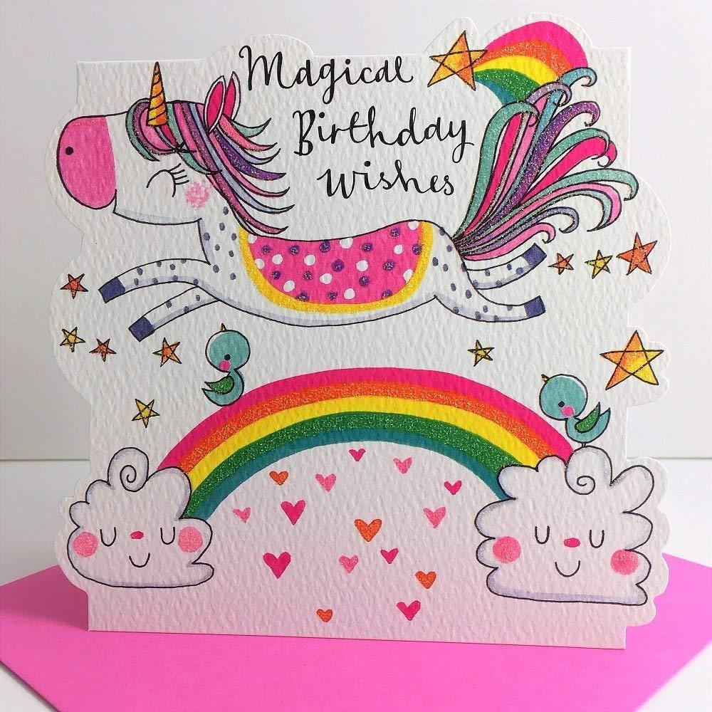 efsdhg Unicornio mágico cumpleaños Desea la Tarjeta ...