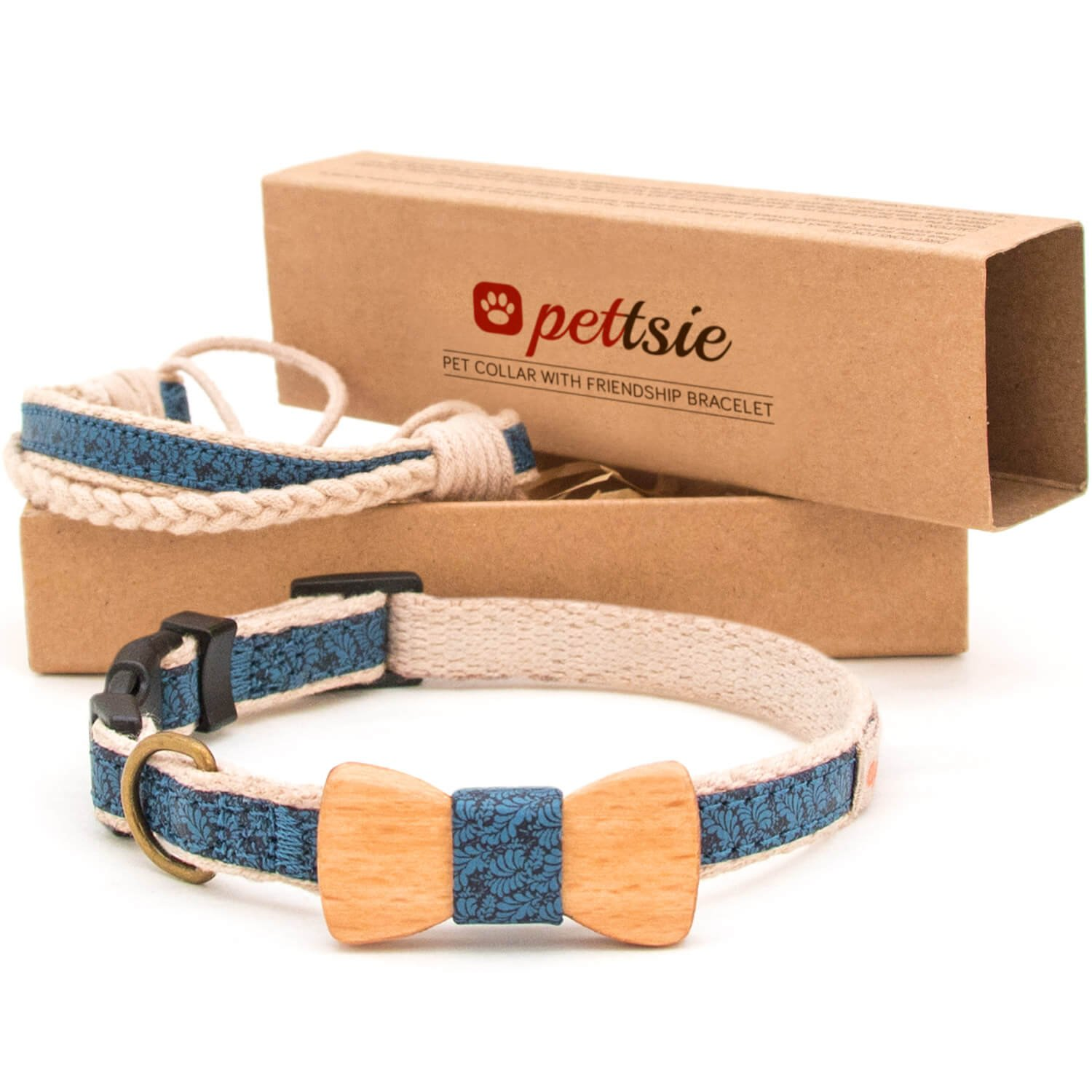 bluee S bluee S Pettsie Dog Collar with Bow Tie Pet and Friendship Bracelet, Durable Hemp for Extra Safety, 3 Easy Adjustable Sizes, Comfortable and Soft, Strong D-Ring for Easy Leash Attachment