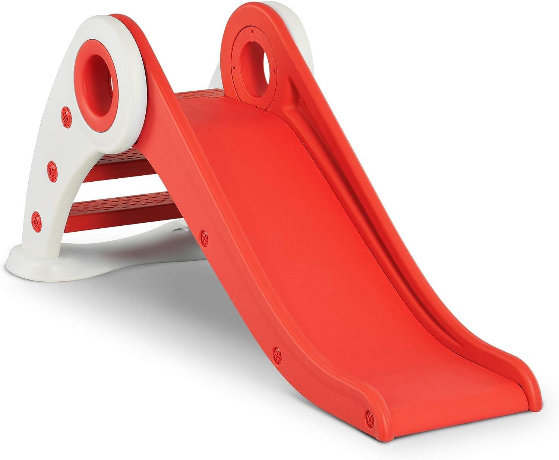 HOMCOM Tobogán Infantil para Niños de +3 Años Tobogán Ancho Plegable con Escaleras Rampa Larga para Jardín Parque Interiores 120x50x56 cm Rojo