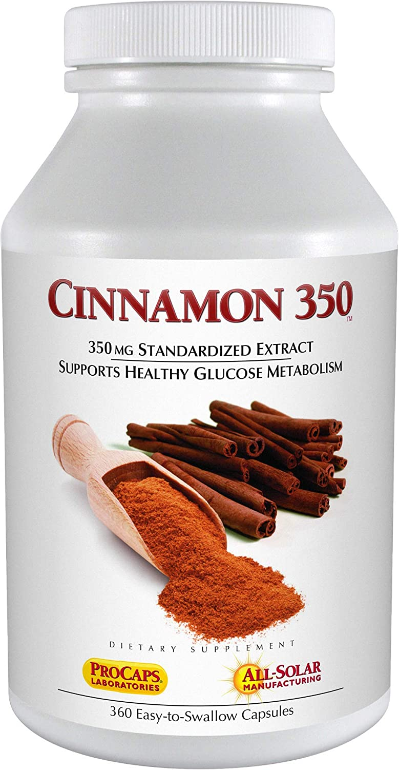 Andrew Lessman Cinnamon 350-360 Capsules High Potency, Standardized Extract. Supports Healthy Blood Sugar Balance and Glucose Metabolism. No Additives. Small Easy to Swallow Capsules