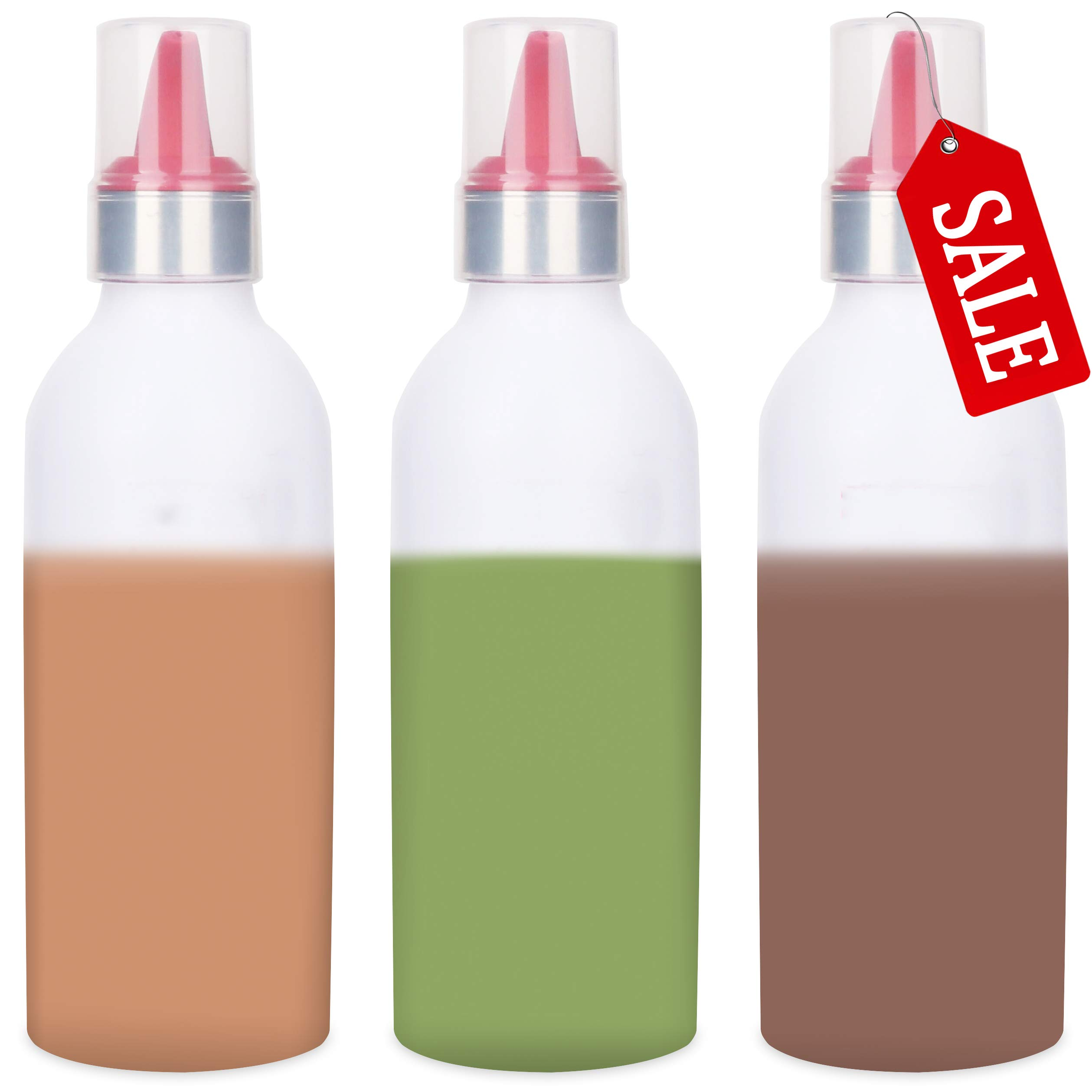 SUJUDE Plastic Squeeze Bottles for Sauces with Lids, Kitchen Squeeze Bottle for BBQ Sauce, Condiments, Salad Dressings and Ketchup, No BPA, FDA Approved, 16 Ouce Pack of 3 by SUJUDE