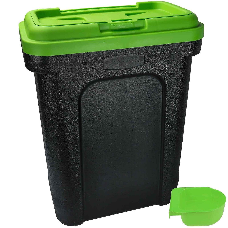 Boîte de rangement ASAB pour nourriture pour chien, chat, oiseau, boîte à rabat avec pelle intégrée, Green, Taille L