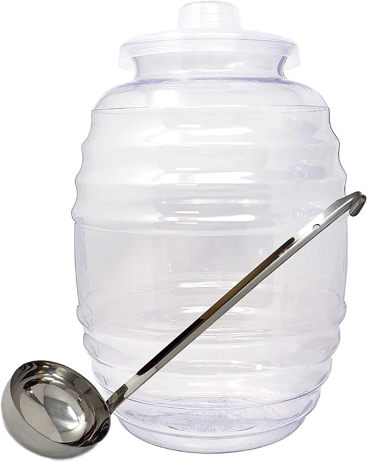 Made In Mexico Vitrolero Aguas Frescas Tapadera Water Jug Juice Beverage Container With Lid & 8 oz Ladle Combo, 3-Gallon 11L - Clear, Party Fiesta Catering - BPA Free Food Grade Plastic-14X10X10