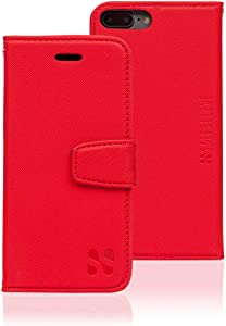 SafeSleeve Anti Radiation RFID iPhone Case: iPhone 8 Plus, iPhone 7 Plus and iPhone 6 Plus ELF & RF Blocking Identity Theft Protection Wallet (Red)