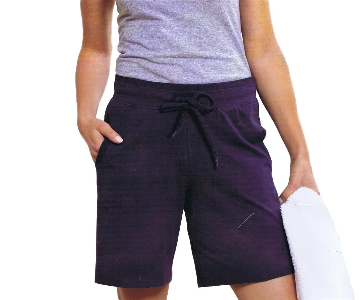 Maks Ladies Drawstring Cotton Lycra Euro Design Casual Sports Barmuda Shorts (Navy, X-Large)