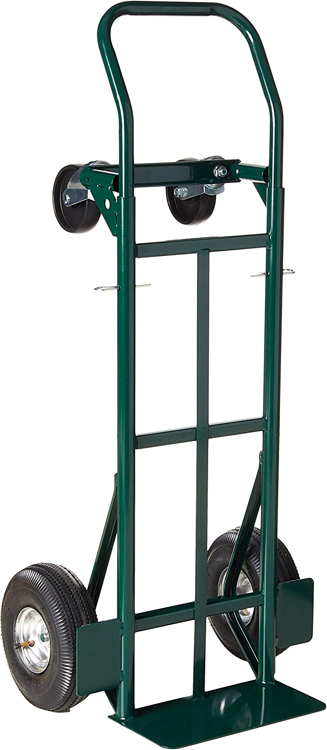 "Harper Trucks 700 lb Capacity Super-Steel Convertible Hand Truck, Dual Purpose 2 Wheel Dolly and 4 Wheel Cart with 10"" Pneumatic Wheels"