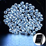 Solar Starry Fairy String Light, Emwel 12M/39FT 100 LEDs 8 Models Outdoor Solar Powered LED String Lights Waterproof Copper Wire Lights Festival Decorative Rope Garden Twinkle Light for Party Homes Wedding (Cool White)