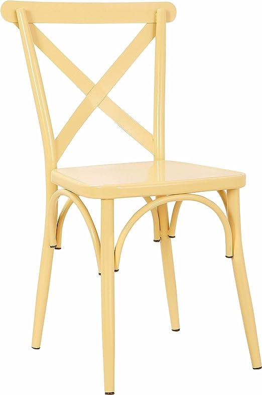 Amazon Com Rustic Cross Back Metal Modern Farmhouse Dining Chair Matte Pastel Tan Chairs